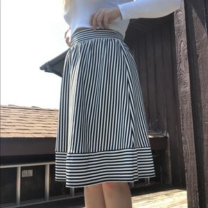 At The Knee Striped Skirt